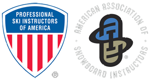 Professional Ski Instructors of America and American Association of Snowboard Instructors logos.